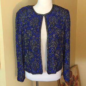 PAPELL BOUTIQUE LARGE Beaded SILK jacket $229 new